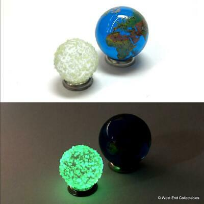 Earth And Glow In The Dark Moon Glass Marbles - Planet Globe World Marble • 9.99£