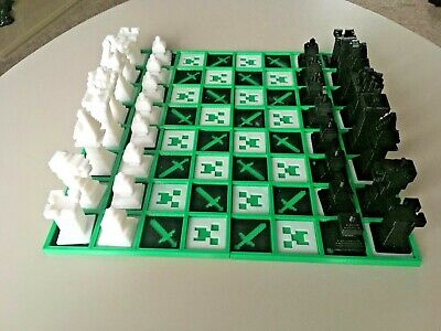 3D Printed Chess Set Minechess Minecraft Style Chess Set Gameboard And Pieces • 29.95£