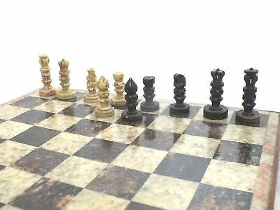 STONE CHESS SET WITH WOODEN BOX BOARD WITH INLAY Complete Set Intricate - S91 • 16£
