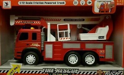 Friction Powered XLarge Fire Engine Truck Toy Lights Sounds Boys Girls Toys 1:12 • 13.99£