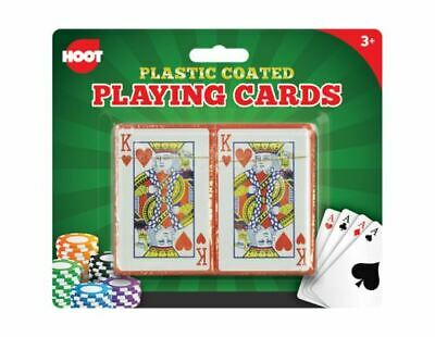 2 Decks Of Playing Cards | Plastic Coated Poker Casino Games | Kids Home Magic • 1.95£