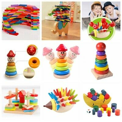 Baby Kid Montessori Educational Toy Wooden Puzzle Stacking Blocks Early Learning • 9.98£