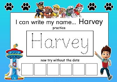 Childrens Educational Name Tracing Sheet Reusable Wipe Clean Paws • 3.50£
