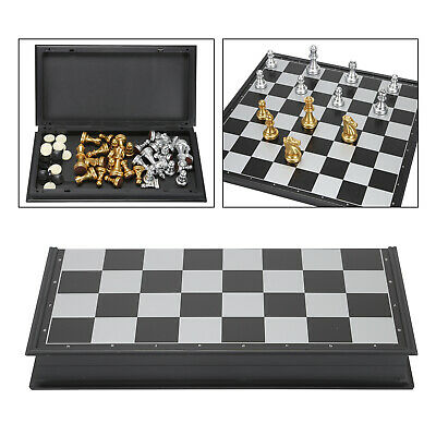 Folding Large Chess Set GOLD And SILVER Magnetic Pieces Chessboard Gift Toy Kit • 8.59£