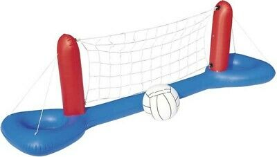 Bestway 2.4m 8ft Wide Inflatable Pool Volleyball Net Set Game With Ball • 12.99£