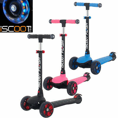 IScoot Flash Kids Scooter 3 Wheels With LED Light Up  Wheels And Handlebars  • 34.99£