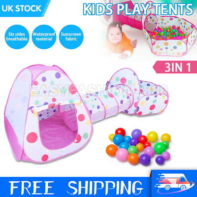 3 In1 Kids Play Tent Toddler Tunnel Ball Pit Pop Up Cubby Children Playhouse UK  • 18.99£