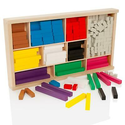 Wooden Educational Maths Blocks Set Introductory Wood Cuisenaire Rods • 14.99£