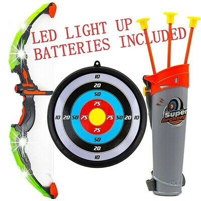 Bow & Arrow Toy Archery Set Kids Target Quiver Fun Game Batteries Included Gift • 15.98£