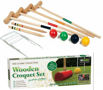 4 Player Wooden Croquet Set Mallet Kids Adult Fun Outdoor Garden Games Toy • 19.99£