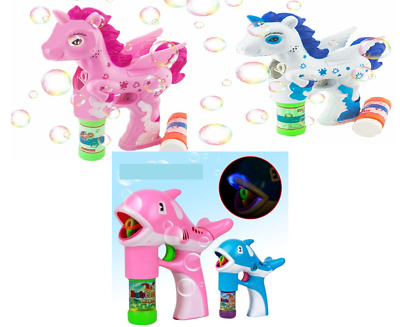 Kids Bubble Machine Gun Blower Solution Birthday Party Bubbles Characters Toys • 6.09£