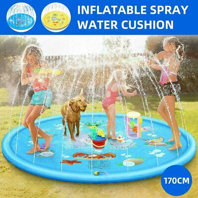 170cm Outdoor Lawn Beach Inflatable Water Spray Cushion Kids Sprinkler Play Mat • 30.07£