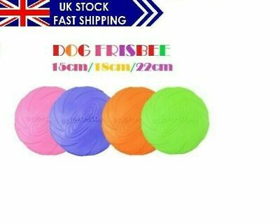 Dog Frisbee Soft Nature Rubber Flying Disc Toy For Interactive Play Exercising • 7.29£