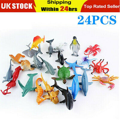 24X Plastic Ocean Animal Figure Sea Creature Model Dolphin Turtle Whale Kids Toy • 8.50£