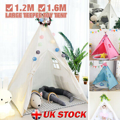 Cotton Canvas Kids Teepee Indian Tent Childrens Wigwam Indoor Outdoor Play House • 26.96£