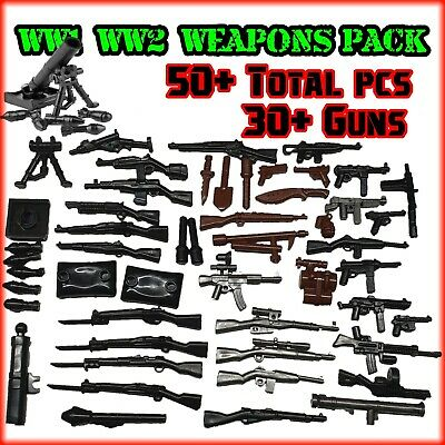 Custom 50pc WW2 Weapons Pack To Fit LEGO®MiniFigs Guns + Melee Weapons + Mortar • 6.50£