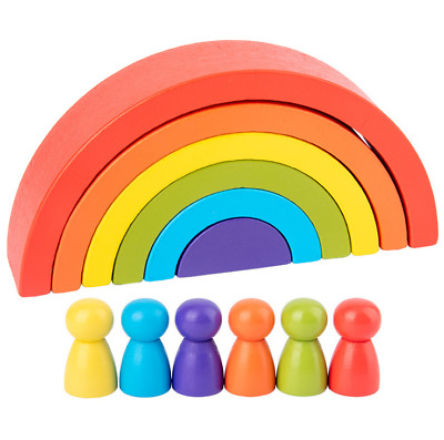 7 Colors Wooden Stacking Rainbow Shape Child Kids Educational Toy Gifts • 7.99£