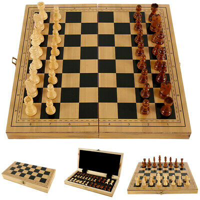 Folding Large 32 Piece Wooden Chess Set High Quality Chessboard Hand Crafted UK • 11.99£