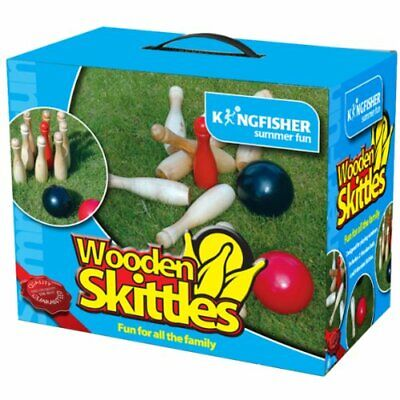 Kingfisher Garden Games Wooden Skittles Game Set Outdoor Summer Family Fun • 14.99£