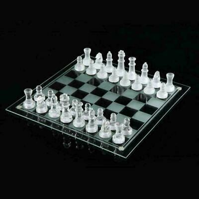 32pcs Frosted Glass Chess Board Game Traditional Classic Family Game Large 24cm • 14.95£
