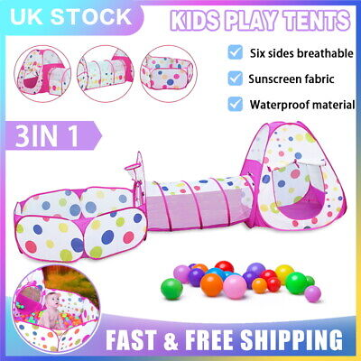 3 In1 Kids Play Tent Toddler Tunnel Ball Pit Toy Pop Up Playhouse Palace Games  • 18.79£