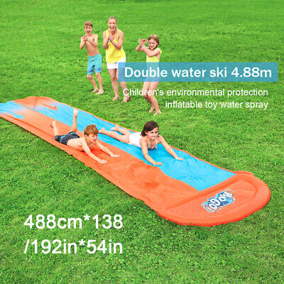 Childrens Kids Inflatable Double Water Slide With Speed Ramp Kids Fun Family Sum • 18.99£