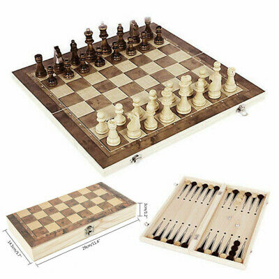 3 In 1 Folding Wooden Chess Set Board Game Checkers Backgammon Draughts Toys UK • 9.99£