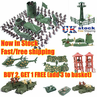 Children Tanks Aircraft Military Toy Army Men Figures 12 Poses Plastic Soldiers • 3.27£