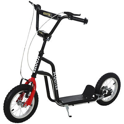HOMCOM 75-80cm Kids Kick Scooter W/ Adjustable Handlebar Inflatable Wheels Black • 62.99£