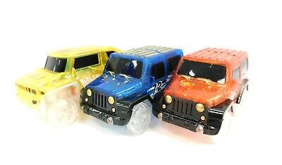3x Pack Magic Track Cars - Red, Blue & Yellow - Mez 13-14 Y90 • 4.99£