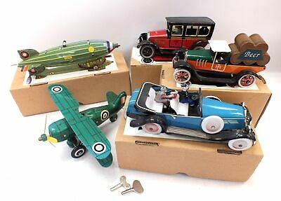 Collection Of 5x Vintage TIN TOYS Clockwork Wind Up CARS & AIRCRAFT Boxed - T15 • 43.85£
