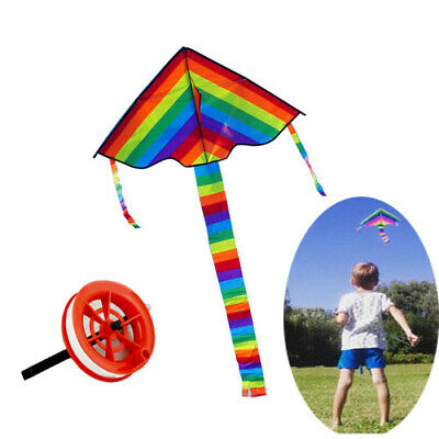 Colorful Rainbow Kite Outdoor Flying Toys Kids Adults Great Beginner Kite + Line • 6.98£