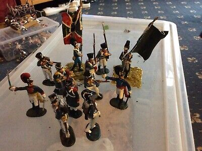 12 HaT Painted Plastic 1/32 French And German Napoleonic Infantry Waterloo Etc • 1.99£