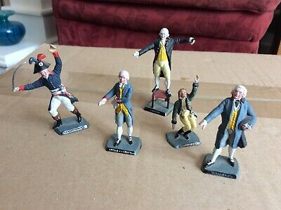 Five Painted Plastic 1/32 Mokarex French Personalities Napoleonic Or Before. • 1.99£