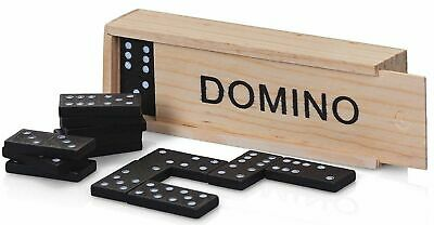 NEW - 28 Pieces Dominoes Set In A  Wooden Box Domino Traditional Game • 2.88£