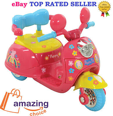 Peppa Pig Kids Child Trike Ride On Motorbike Sounds Pink 6V Battery Operated✅NEW • 87.24£