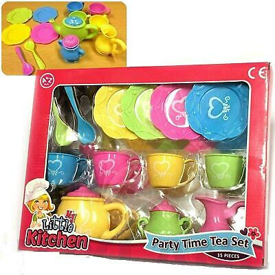 Kids Girls 15pcs Plastic Play Toy Tea Set Teapot Cups And Plates Gift Pack • 7.30£