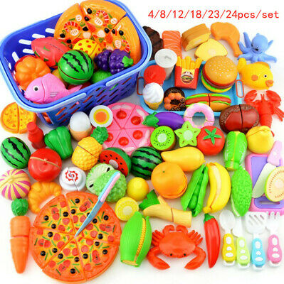 Fruit Pretend Kitchen Cutting Set Fruit Vegetable Food Reusable Role Play Toy 24 • 10.99£