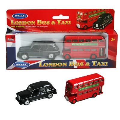 London Bus And Taxi Model Die Cast Metal Vehicle Set Souvenir Gift Toy Kids TOY • 6.50£