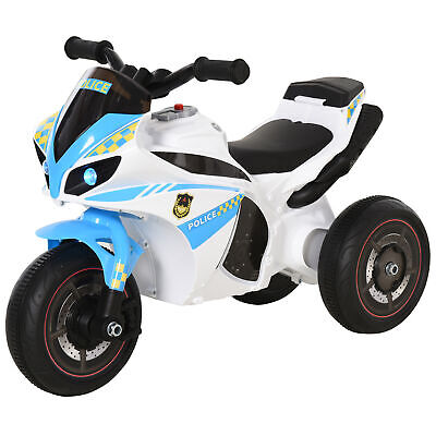 HOMCOM Kids Ride-On Police Bike 3-Wheel Vehicle W/ Music Lights 18-36 Mths • 34.99£