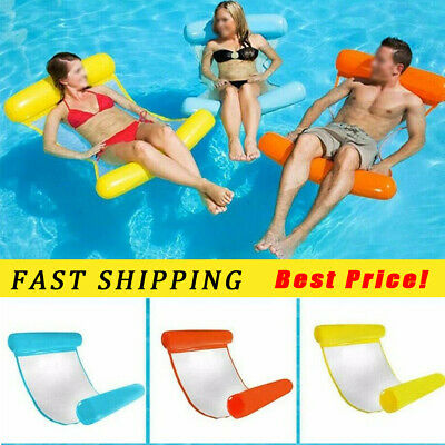 Inflatable Floating Water Hammock Float Pool Lounge Bed Swimming Chair UK STOCK • 6.59£