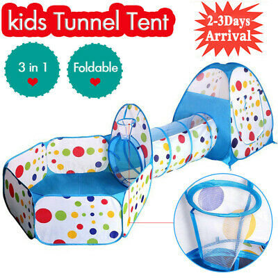3 In 1 Kids Baby Toddler Tunnel Pop Up Play Tent Indoor Outdoor Cubby Playhouse • 15.98£