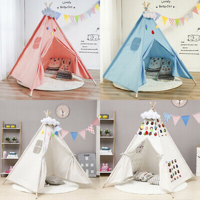 Large Canvas Children Indian Tent Teepee Kids Wigwam Indoor Outdoor Play White • 19.99£