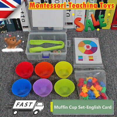 Counting Bears With Stacking Cups Montessori Color Sorting Matching Game Toys • 11.99£