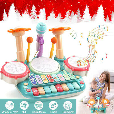 Kids Toddler First Electronic Drum Kit Set W/Microphone CHILDREN MUSICAL TOY NEW • 14.94£