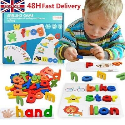 Spelling Games For Kids, Alphabet Puzzle Toy -  52 Wooden Letters & 28 Cards • 8.88£