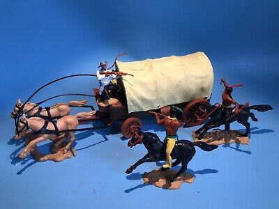 Timpo Toys Original Cowboy Western Wagon Covered Wagon Under Attack By Indians • 75£