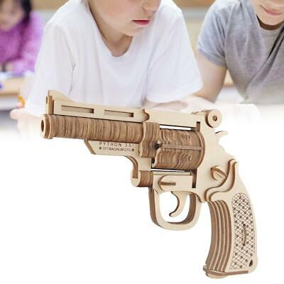 Kids Pistol Toy Model 3D Wooden Puzzle DIY Mechanical Toys Gun Assembly Kit Gift • 7.50£