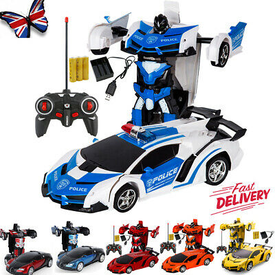 UK Toys For Kids Transformer RC Robot Car 2 IN1 Remote Radio Control Xmas Gift • 12.95£