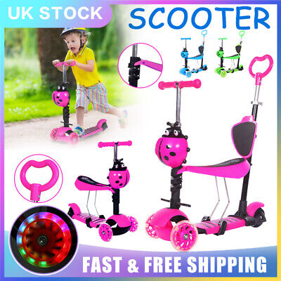 Kids Scooter 5-in-1 Adjust Seat Toddler Kick Scooter Flashing Wheels Child Toys • 20.79£